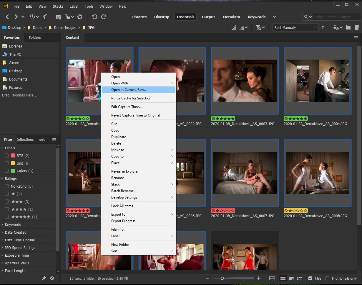 Screenshot of how to open images in Camera Raw via Adobe Bridge.