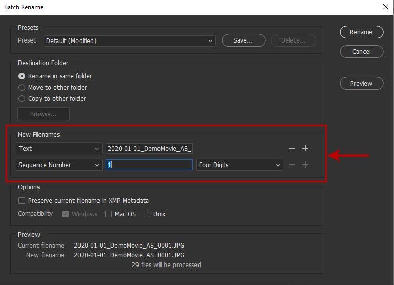 Screenshot of the batch rename modal in Adobe Bridge